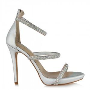 Gümüş Renk Abiye Ayakkabı Taşlı