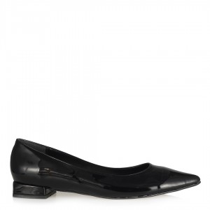 Siyah Rugan Sivri Babet Ayakkabı