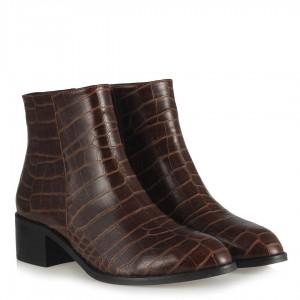 Topuklu Kadın Bot Kahverengi Crocodile