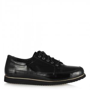 Siyah Bağcıklı Hakiki Deri Rugan Düz Ayakkabı