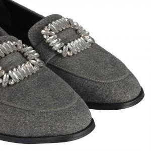 Gri Loafer Ayakkabı  Süet Taşlı Tokalı