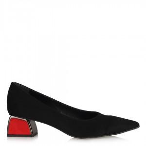 Siyah Süet Kırmızı Metal Topuklu Stiletto