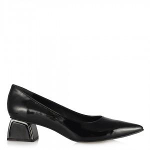 Stiletto Siyah Rugan Metal Topuklu