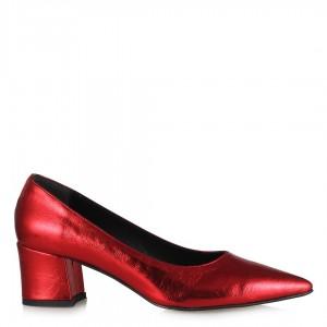 Kalın Topuklu Stiletto Abiye Kırmızı Parlak