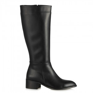 Siyah Az Topuklu Çizme