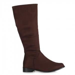 Kahverengi Süet Düz Model Çizme Fermuarlı