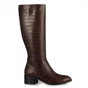 Az Topuklu Çizme Kahverengi Crocodile