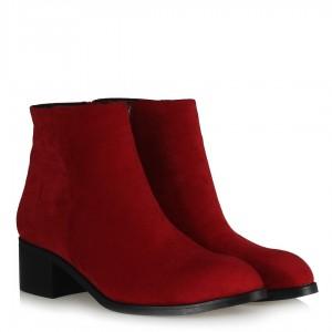 Kırmızı Süet Az Topuklu Bot