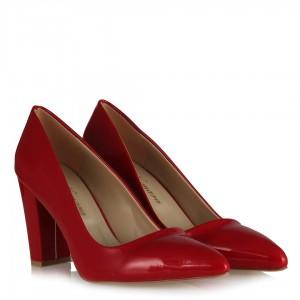 Stiletto Topuklu Ayakkabı Kırmızı Rugan