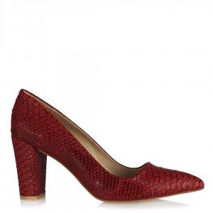 Kalın Topuklu Kırmızı Crocodile Stiletto