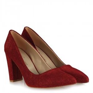 Kırmızı Simli Stiletto Topuklu Ayakkabı