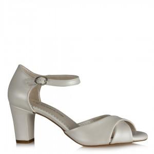 Nikah Ayakkabısı Az Topuklu Kırık Beyaz Çapraz Bantlı