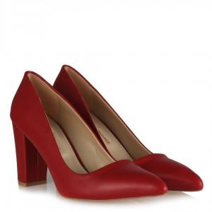 Kırmızı Mat Stiletto Kalın Topuklu