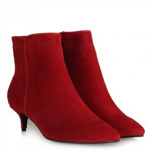 Topuklu Bot Sivri Burun Kırmızı