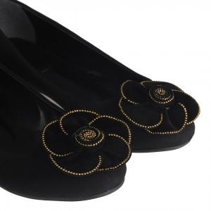 Babet Siyah Süet Çiçek Tokalı