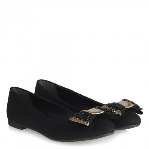 Babet Ayakkabı Siyah Süet Metalik Toka