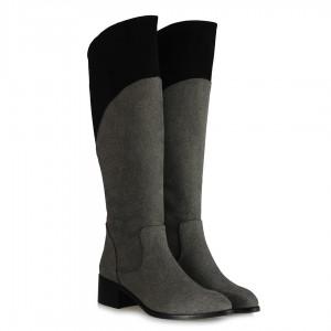 Az Topuklu Uzun  Gri Siyah Çizme