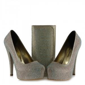 Dore Taşlı Topuklu Ayakkabı Ve Portföy