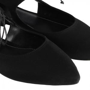 Babet Ayakkabı Siyah Süet Yanı Açık Bağcıklı