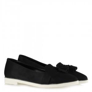 Babet Ayakkabı Siyah Süet Püsküllü Loafer