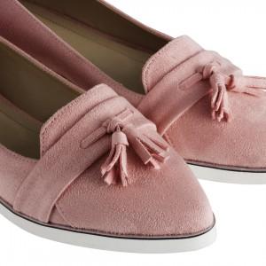 Loafer Model Babet Pudra Süet Sivri Püsküllü