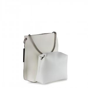 Çanta Zincir Aksesuarlı Beyaz Kol Çantası