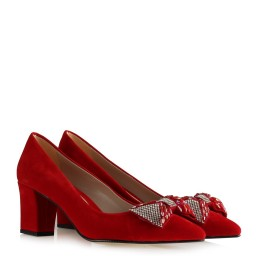 Kalın Topuklu Ayakkabı Kırmızı Süet Tokalı