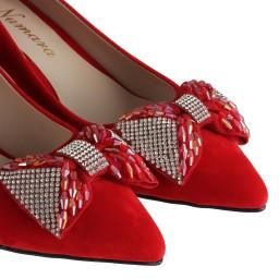 Красная Замшевая Обувь На Толстом Каблуке С Брошью
