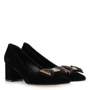 Topuklu Siyah Stiletto Ayakkabı Tokalı