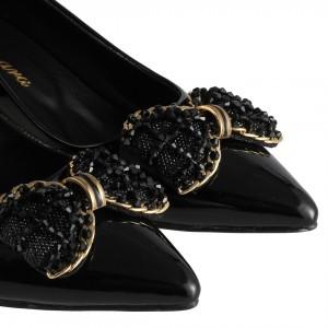 Kalın Topuklu Tokalı Ayakkabı Siyah Rugan