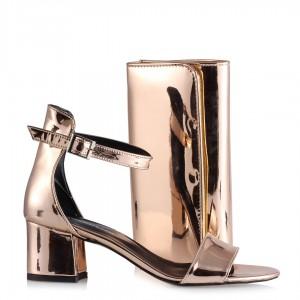 Sandalet Az Topuklu Bakır Ayna Tek Bantlı Çanta Takım
