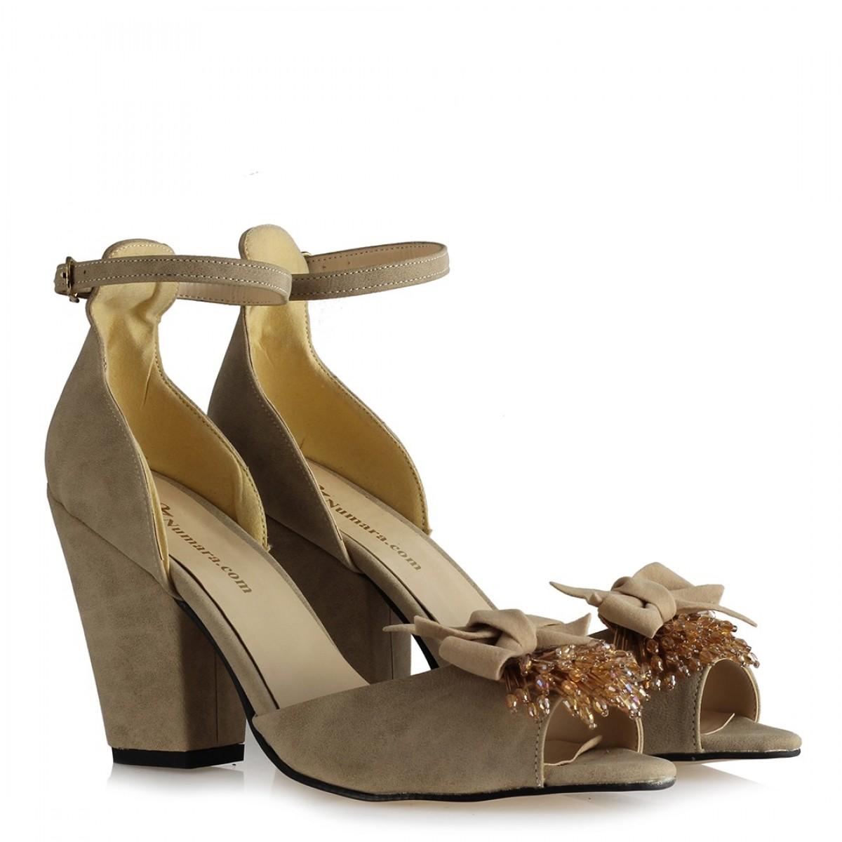 Topuklu Ayakkabı Vizon Tokalı