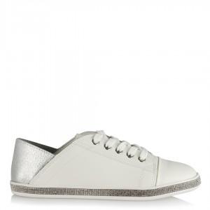 Beyaz Spor Ayakkabı Bağcıklı Taşlı