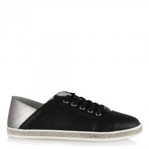Spor Ayakkabı Siyah Bağcıklı Taşlı
