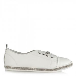 Spor Ayakkabı Beyaz Lastikli Taşlı