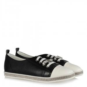 Siyah Spor Ayakkabı Taşlı Lastikli