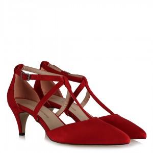 Stiletto Kemerli Model Kırmızı Süet