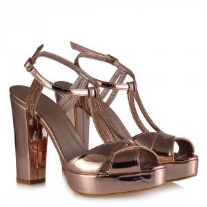 Kadın Abiye Ayakkabı Rose Ayna Taşlı