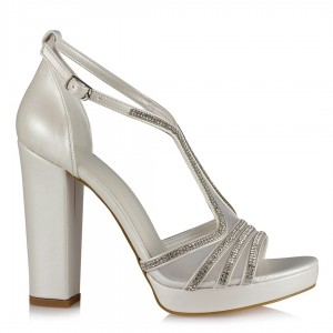 Gelin Ayakkabısı Kırık Beyaz Taşlı Kalın Topuklu