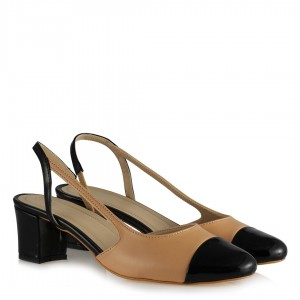 Topuklu Ayakkabı Siyah Nude Arkası Açık