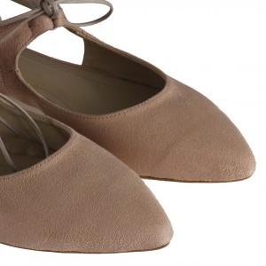 Bej Süet Babet Ayakkabı Yanı Açık Bağcıklı