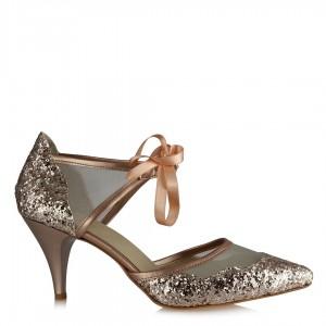 Bronz Cam Kırığı Stiletto Az Topuklu Abiye Ayakkabı