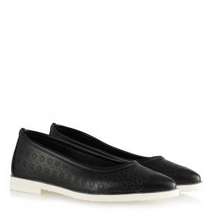 Babet Ayakkabı Siyah Desenli Sivri Eva Tabanlı