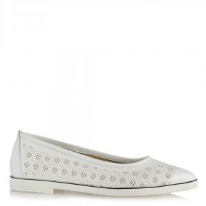 Babet Ayakkabı Beyaz Desenli Sivri Model