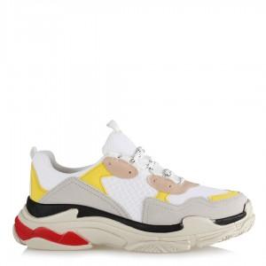 Renkli Sneakers Modeli Bej Sarı Spor