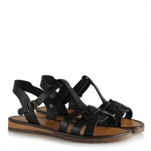 Sandalet Siyah Hakiki Deri Kemerli