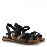 Sandalet Siyah Yılan Desenli Kemer