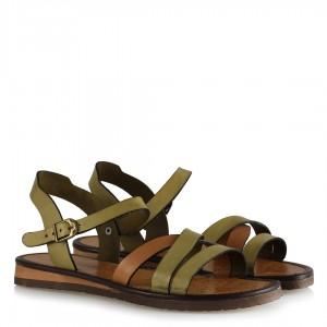 Sandalet Yeşil Taba Kemerli