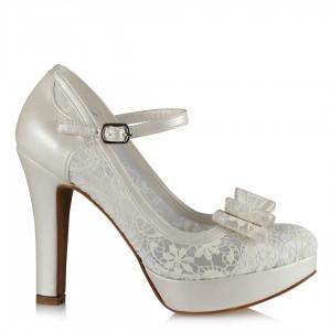 Gelin Ayakkabısı Dantel Fiyonklu Topuklu