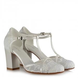 Düğün Ayakkabısı Direkli Kemer Dantel Desenli